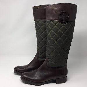 Tory Burch Olive and Brown Leather Boot 7.5